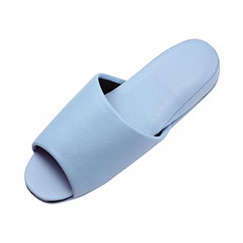 抗菌ビニールレザー調スリッパ(前開き) ブルー