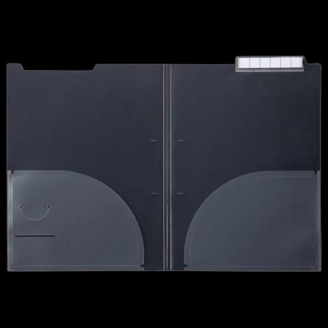 カルテホルダー 二つ折アッパーインデックス ダブルポケット A4(見開きA3) 10枚入