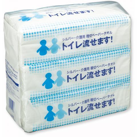 シルバー・介護用ペーパータオル トイレ流せます! 1パック(600枚:200枚×3個)