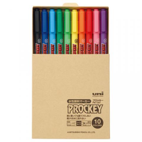 水性ツインサインペン プロッキー 細字丸芯+極細 簡易紙箱入 10色セット