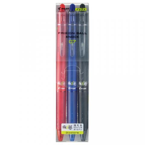 ゲルインキボールペン フリクションボールノック 0.7mm 3色セット