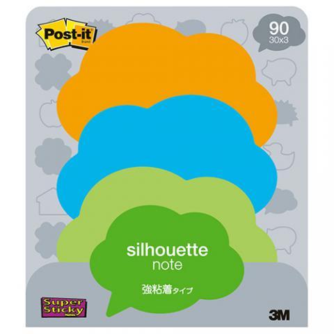 ポスト・イット 強粘着ノート シルエットデザインシリーズ 吹キ出シ 30枚×3色