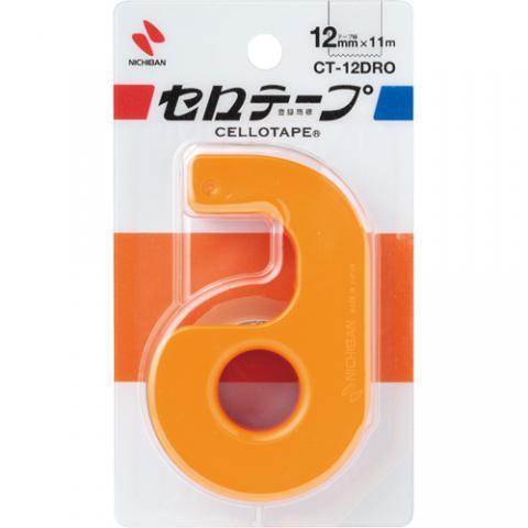 セロハンテープ小巻 カッター付 オレンジ 12mm×11m