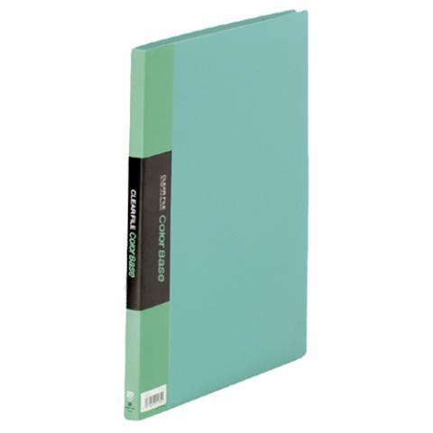 クリアーファイル カラーベース A4タテ 20ポケット 緑