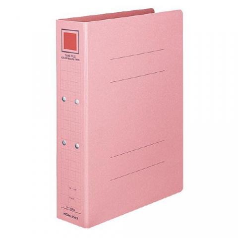 チューブファイル<カラーボードツイン> A4タテ 80mmとじ ピンク