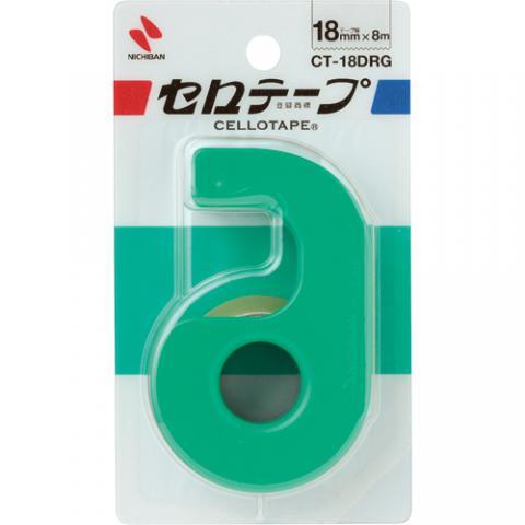 セロハンテープ小巻 カッター付 グリーン 18mm×8m