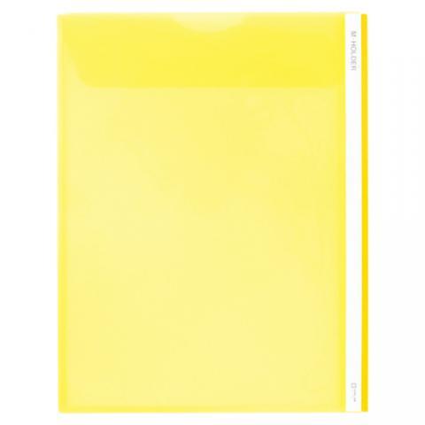 Mホルダー(タテ型) A4タテ 短辺フタ付・マチあり 黄