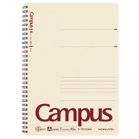 再生紙キャンパスノート ツインリングノート セミB5 A罫 40枚