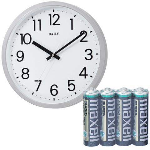 クオーツ掛時計フラットフェイスDN 白+マンガン電池セット
