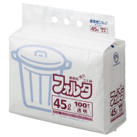 ゴミ袋 環優フォルタ 45L 透明 100枚入
