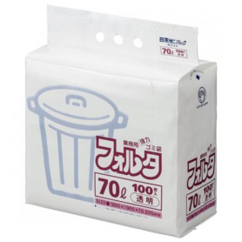 ゴミ袋 環優フォルタ 70L 透明 100枚入