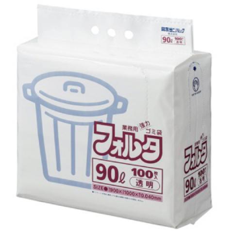 ゴミ袋 環優フォルタ 90L 透明 100枚入