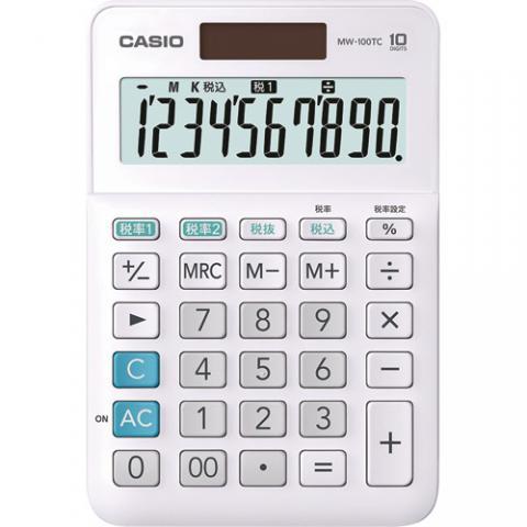 カシオ W税率電卓 10桁 MW-100TC-WE-N